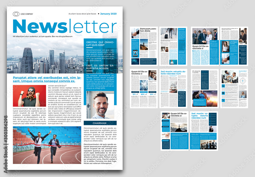 Fototapety, obrazy: Business Newsletter Layout with Blue Accents