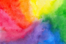 Abstract Multicolor Rainbow Watercolor Textured Background