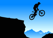 Silhouette Of A Cyclist On A Mountain Background.