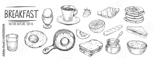 Obraz Breakfast set. Eggs, coffee, toasts, pancakes. Hand drawn sketch converted to vector - fototapety do salonu