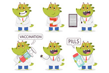 Children's Doctor Crocodile Vector Cartoon Funny Medical Characters Set Isolated On A White Background.