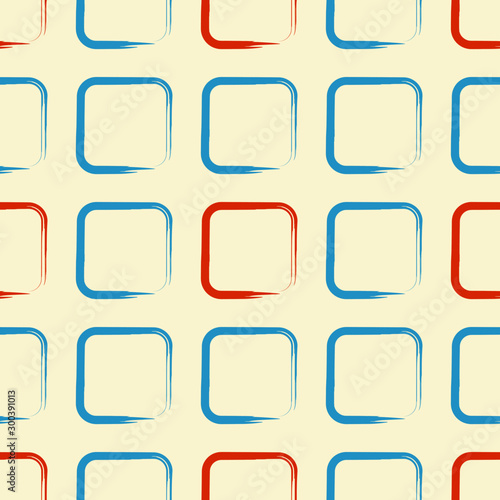 Fototapety, obrazy: Square pattern retro orange blue