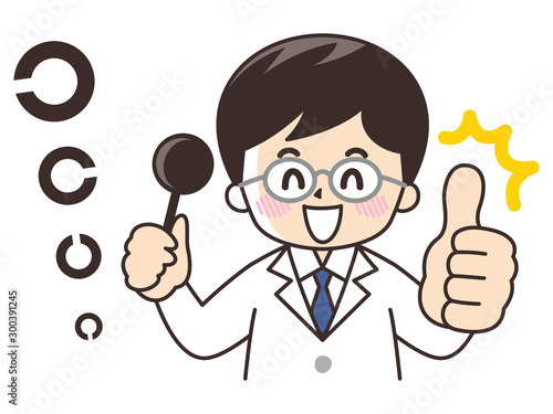 Obraz 視力検査をする眼科医 - fototapety do salonu