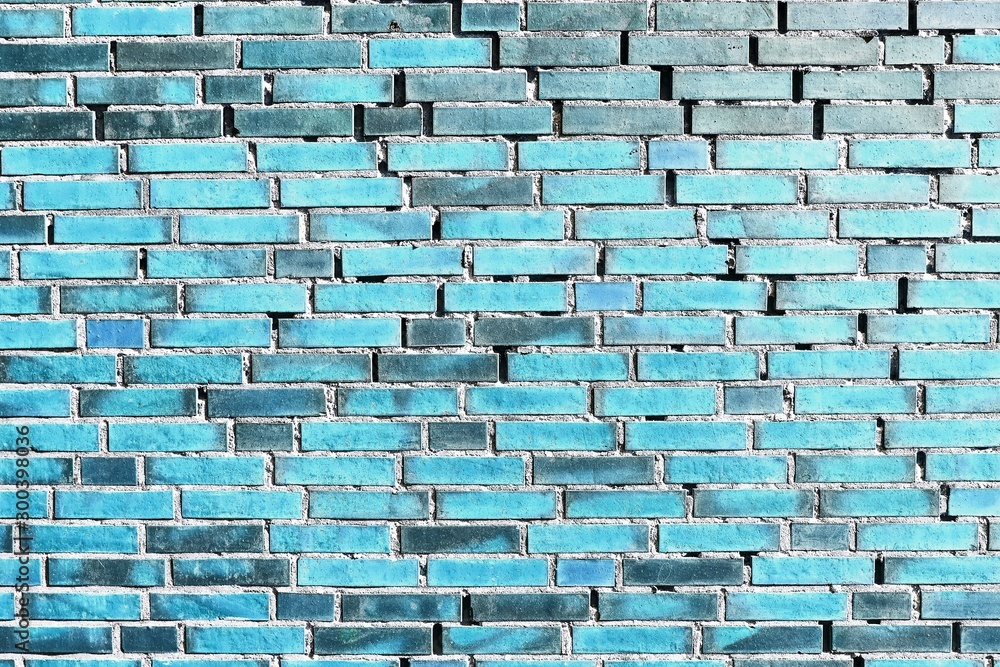 Fototapety, obrazy: Detailed close up view on blue colored aged and weathered bricks walls in high resolution