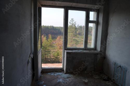 Foto auf Gartenposter Osteuropa Ghost town in Eastern Europe.Former Soviet kids camp.Ukraine gets rid of the consequences of communism. Ruins. Kiev Region,Ukraine