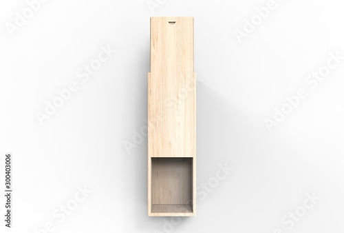 Fotografie, Obraz  Blank wood storage box with rope handle and sliding lid