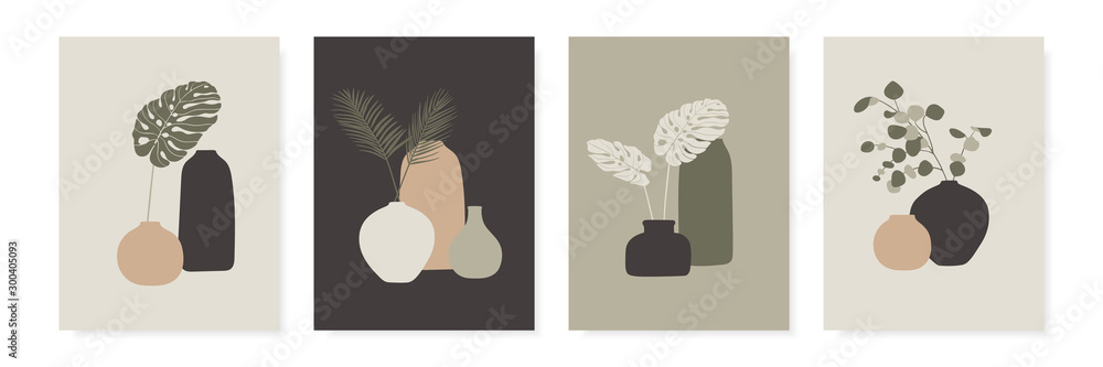 Fototapety, obrazy: Trendy design for greeting cards, invitations, posters. Vases and tropical leaves. Abstract modern A4 posters set. Vector illustration.