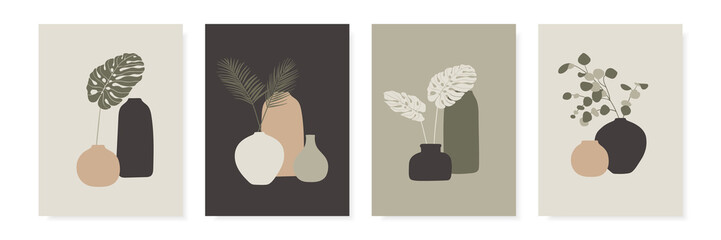 Trendy design for greeting cards, invitations, posters. Vases and tropical leaves. Abstract modern A4 posters set. Vector illustration.