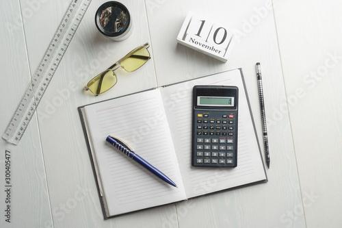 Cuadros en Lienzo  World Accountant Day, symbols, calculator, pen, notebook