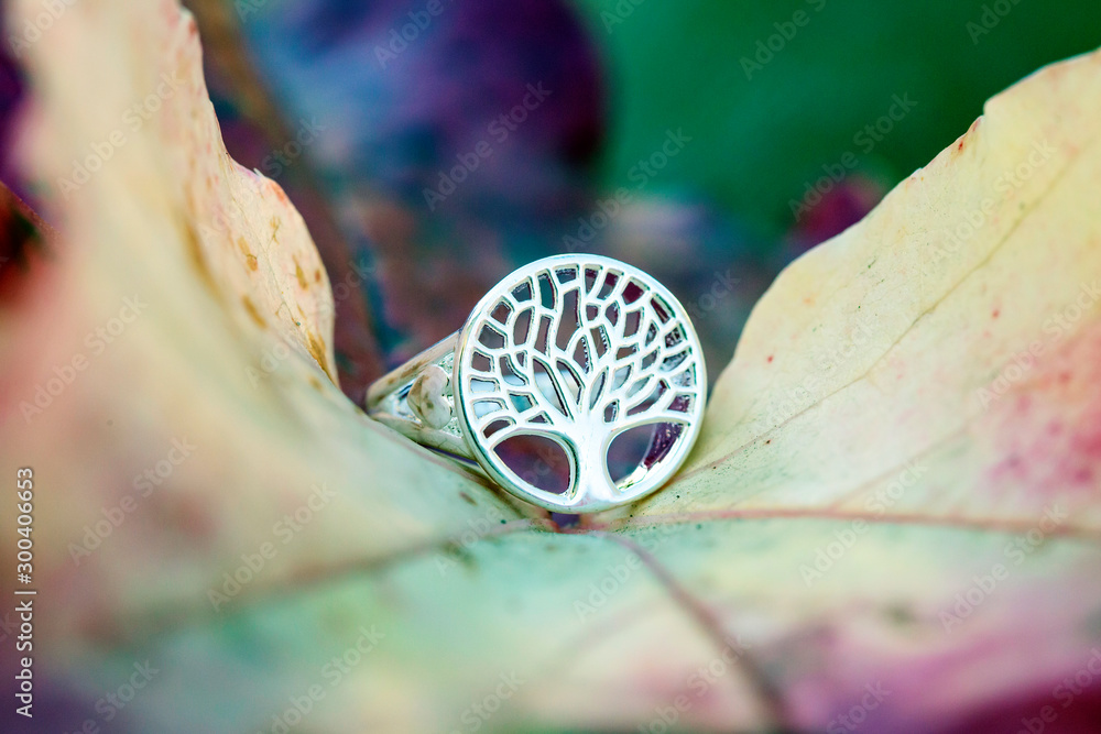 Fototapety, obrazy: Sterling silver tree shape ring detail on natural Autumn background