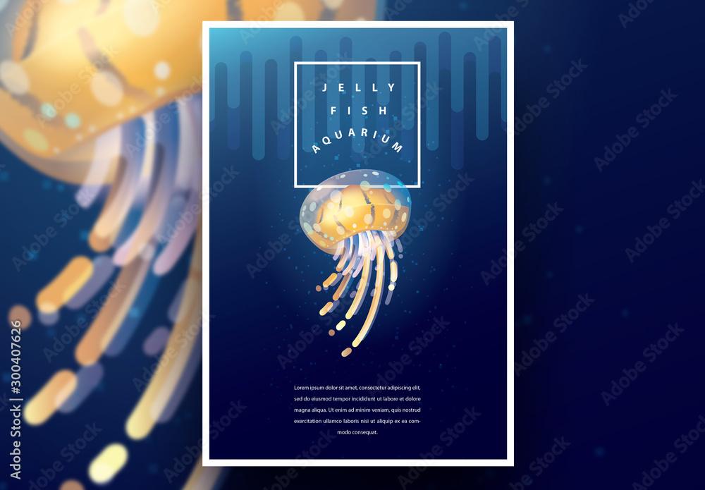 Fototapety, obrazy: Aquarium Poster Layout with Yellow Jellyfish