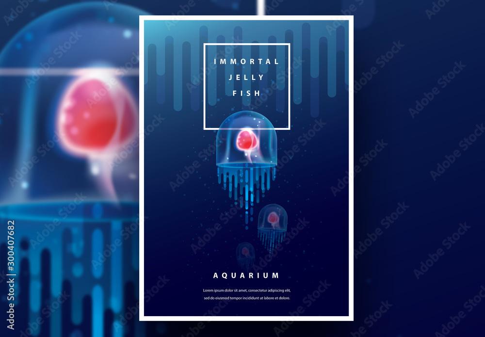 Fototapeta Aquarium Poster Layout with Jellyfish