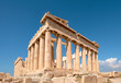 Parthenon temple on a bright day with blue sky. Classical ancient Greek civilization landmark, famous place, panorama travel background.Panoramic image taken in Acropolis hill in Athens, Greece.