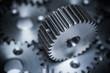 canvas print picture - Industrie und Automotive Zahnrad Zahnräder aus metall und Stahl gefertigt und gefräst mit Hintergrund