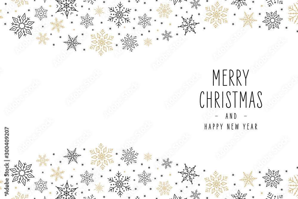 Fototapety, obrazy: Christmas snowflakes elements ornaments greeting card on white background