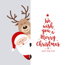 Santa And Reindeer Cute Cartoo...