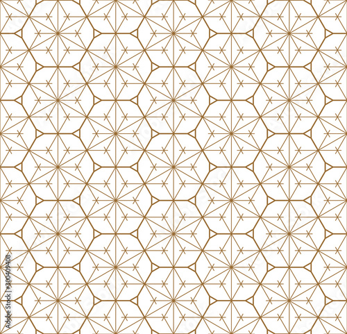 Photo Seamless geometric pattern based on japanese ornament kumiko .