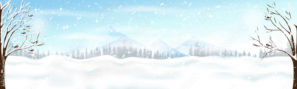 Fototapety, obrazy: Christmas scene with snowdrifts,blizzard,firs and pine tree forest, Winter landscape of birds family on branches tree with windy, Winter Holidays with storm and heavy snowfall background