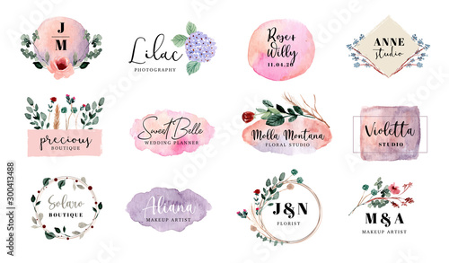 Obraz premade logo floral and brush stroke collection - fototapety do salonu