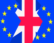 canvas print picture - The Uniited Kingdom,British, flag seperates fom the European flag to illustrate Brexit.