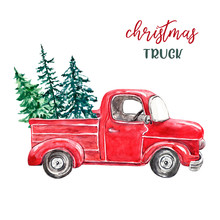 Watercolor Red Pickup Truck And Forest Pine Trees, Isolated On White Background. Christmas Vintage Car Illustration. Winter Holiday Card.