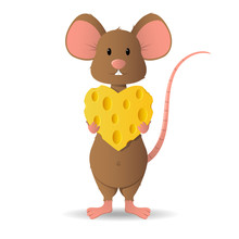 Loving Cute Little Mouse, Brown, Holds Cheese In The Shape Of A Heart.