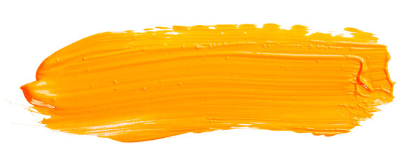 Orange yellow brush stroke isolated on white background. Orange abstract stroke. Colorful watercolor brush stroke.