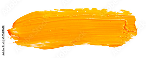 Obraz na plátne Orange yellow brush stroke isolated on white background
