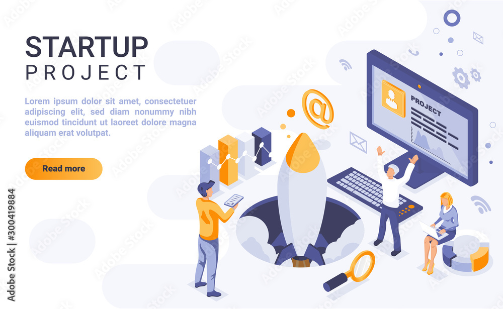 Fototapeta Startup project landing page vector template with isometric illustration. Corporate strategy launch homepage interface layout with isometry. Initiating new business 3d webpage design idea