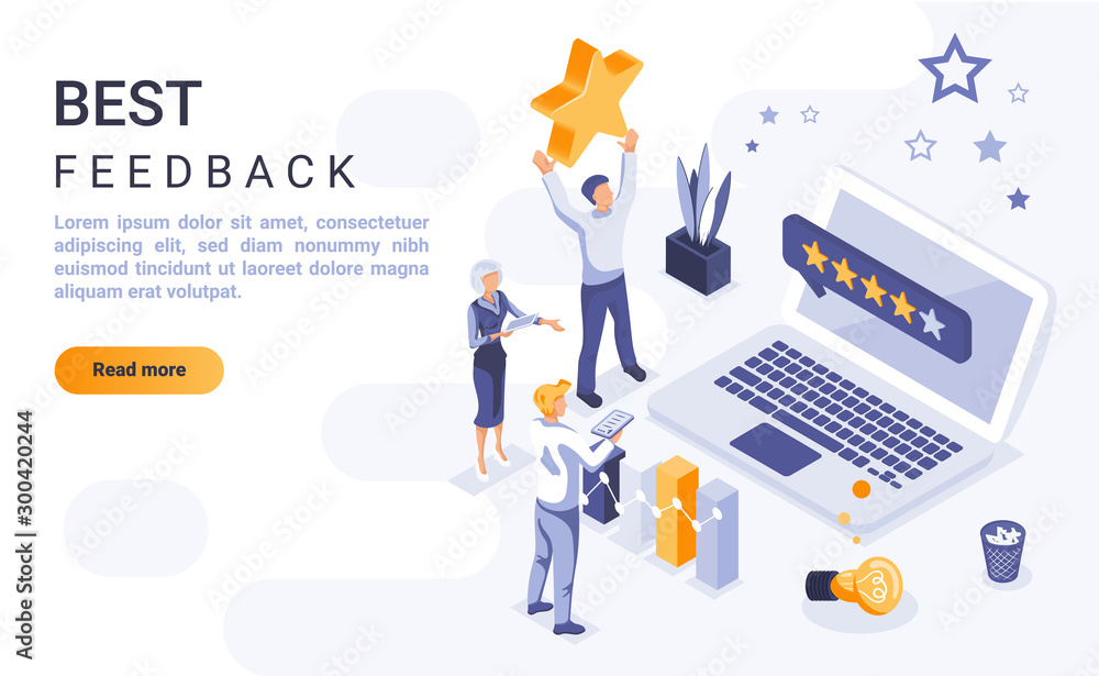 Fototapety, obrazy: Best feedback landing page vector template with isometric illustration. Customer satisfaction rating homepage interface layout with isometry. Service quality evaluation 3d webpage design