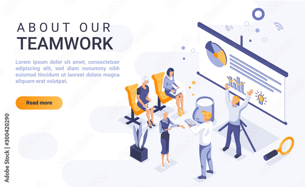Fototapeta About our teamwork landing page vector template with isometric illustration. Office team cooperation and communication homepage interface layout with isometry. Business partnership 3d webpage design