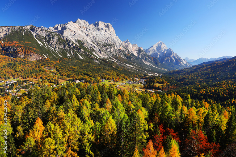 Fototapety, obrazy: Picturesque alpine resort with majestic sunset and high mountains in background, Cortina d Ampezzo, Dolomites, South Tyrol, Italy, Europe