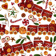 Christmas Seamless Pattern. New Year Watercolor Background In Cartoon Style.