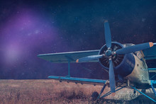 Beautiful Abstract Surreal Blue And Yellow Airplane Landscape Cosmos Space Collage Concept, Contemporary Colors And Mood Social Background. Vintage Aircraft.
