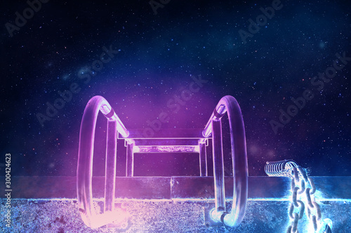 Beautiful abstract surreal ladder of stars landscape cosmos space collage concept, contemporary colors and mood social background. - 300424623