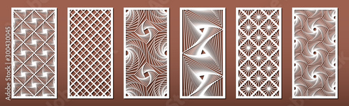 Fotografering Set of laser cut templates with geometric pattern