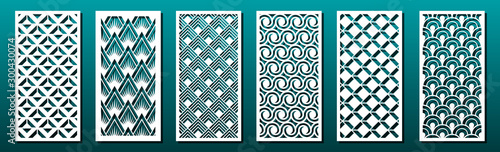 Set of laser cut templates with geometric pattern Wallpaper Mural