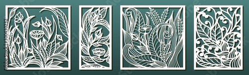 Fototapeta Laser cut panel template, anstract floral pattern. Stencil for wood or metal cutting, carving, paper art, fretwork. obraz