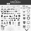 Set of vector outdoor adventure elements and icons for self build badges & signs