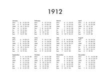 Calendar Of Year 1912