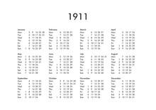 Calendar Of Year 1911