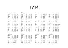 Calendar Of Year 1914