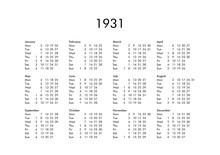 Calendar Of Year 1931