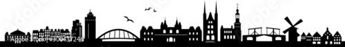 Photo  Amsterdam City Skyline Vector Silhouette