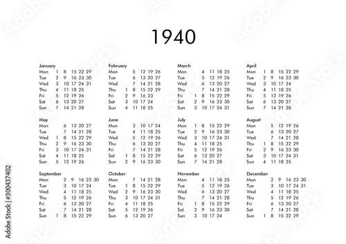 Fotografia  Calendar of year 1940