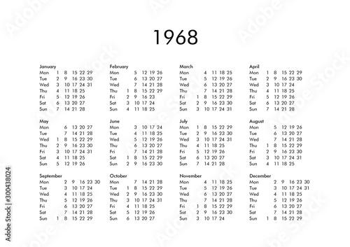 Fotografia  Calendar of year 1968