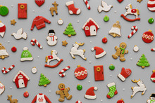 Decorated Christmas Cookie Background