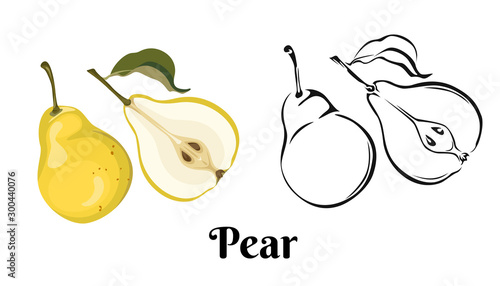 Foto Ripe yellow pear isolated on white background