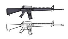 Rifle M 16. Firearms. Colorful Image Set Of Rifle M 16 Legendary Assault Rifle. Firearms In Combat. Assault Gun Wireframe. Machine Guns. Assault Rifles. Vector Graphics To Design.