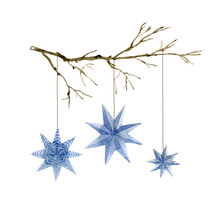 Watercolor Illustration Of Christmas Blue Stars Decoration Elements On The Branch. Hand-drawn Illustration On The White Background